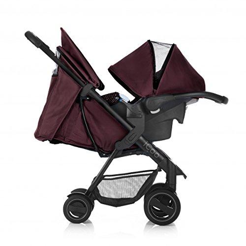 iCOO Acrobat Shop'n Drive höhenverstellbarer Buggy bis 18 kg mit Liegefunktion und Fußsack + Babyschale ab Geburt, mit einer Hand klein klappbar, leicht, Reflektoren – rot