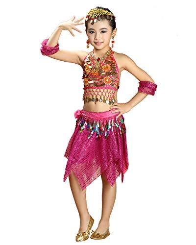 Grouptap Bollywood India bebé niña niños pequeña Princesa árabe Danza del Vientre Traje Rosa Falda Superior Elegante Traje de niño (100-140 cm) (Rosa, Un tamaño)