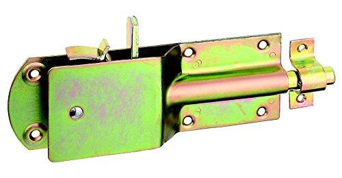 GAH-Alberts 124182 Sicherheits-Stallriegel mit breitem flachen Griff, galvanisch gelb verzinkt, 200 x 70 mm