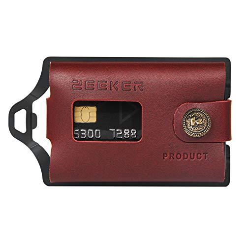 Zeeker Portafoglio sottile Mminimalist Porta Carte di Credito Portafoglio Uomo Portafoglio Portafoglio Pelle con Fermasoldi Metallo per Note e Carte