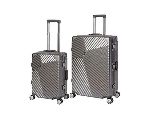 Travelhouse Roma Koffer Set grau S-55cm + L-77cm · Alu Rahmen · Polykarbonat Hartschale · Reisegepäck Reisetrolley Trolley · Je 2X TSA Zahlenschloss · 44L...