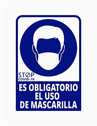Pegatina Es obligatorio el uso de mascarilla, Prevención COVID-19, diseñado para empresas, como medida de protección contra el Coronavirus - Cartel prevención (Azul Oscuro) ⭐