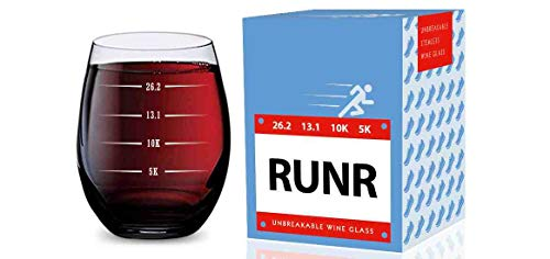 Stemless Wine Glass for Runners (5K, 10K, 13.1, 26.2 Measurements) Made of Unbreakable Tritan Plastic and Dishwasher Safe - 16 ounces