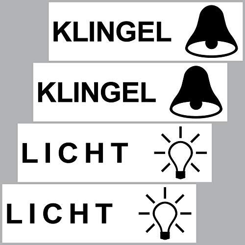 GreenIT 4 Stück Aufkleber Sticker Licht Klingel Briefkasten Schalter Haustür