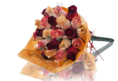 Rosenstrauß aus Holz, perfekt für jeden Anlass, schöne Dekoration für Zuhause oder Büro, verschiedene Farben Rot, Weiß und Gelb