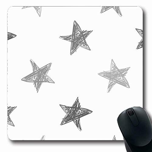 Mousepad Oblong Silhouette Kinder Grau Bleistift Muster Sterne Verschiedenes Skizze Zusammenfassung Kinder Hand Baby Zeichnung rutschfeste Gummi Mauspad Büro Computer Laptop Spielmatte
