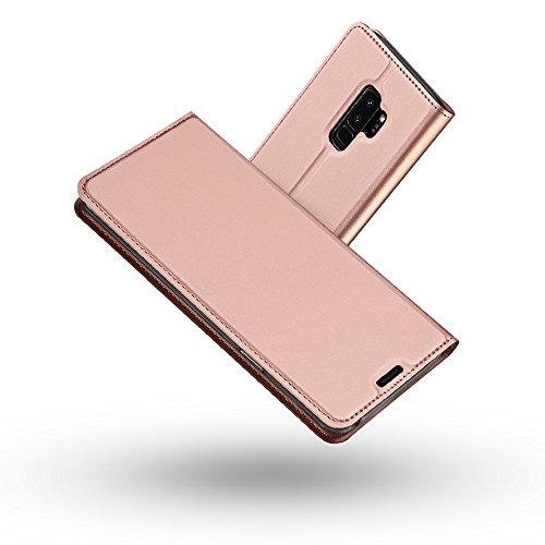Radoo Galaxy S9 Plus Hülle, Premium PU Leder Handyhülle Brieftasche-Stil Magnetisch Folio Flip Klapphülle Etui Brieftasche Hülle Schutzhülle Tasche Case Cover für Samsung Galaxy S9 Plus (Rose Gold)