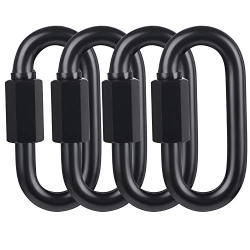 BEWISHOME D Shape Locking Carabiner,Black Quick Links,Durable Chain Links,Heavy Duty Chain Connector,Black HDK03H