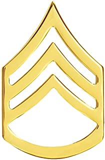 US Army Chevron Rank Enlisted: Staff Sergeant E 6 / SSG Brass Sold as Pair Gold