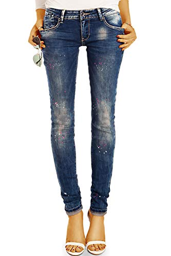 be Styled Damenjeans Design Low Waist Jeanshose Hüftjeans mit Farbflecken, röhrig Skinny j7p 38/M