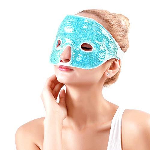 NEWGO®Kühlend Gesichtsmasken Kühlmaske Augenmaske Entspannungsmaske für Die Augen, Migräne, Geschwollene Augen, Trockene Augen und Kopfweh - Blau