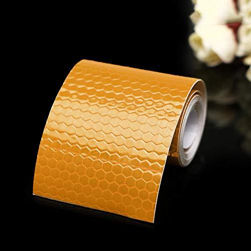 MJJEsports 5cm X 100cm Veiligheidswaarschuwing Reflecterende Sticker Conspicuity Tape Film Auto Sticker, Gouden Geel, 1
