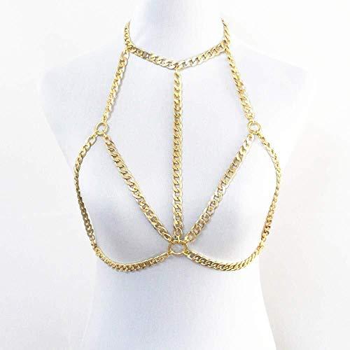 LXDDJXL Damen Halsketten Lange Lariat Halskette Damen Körperkette Harness Sexy Bikini T-Shirt Brustkette Halskette BH Zubehör für Strand Party Nachtclub Strand Party Bar