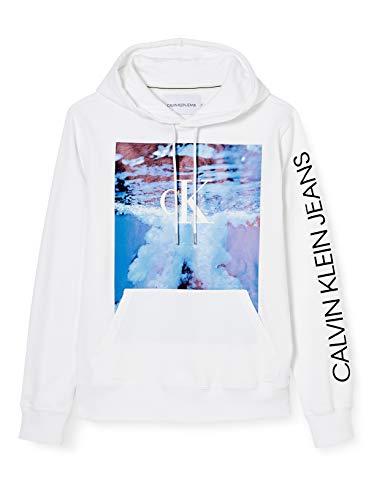 Calvin Klein Jeans Herren Wave Photoprint Hoodie Pullover, White, M