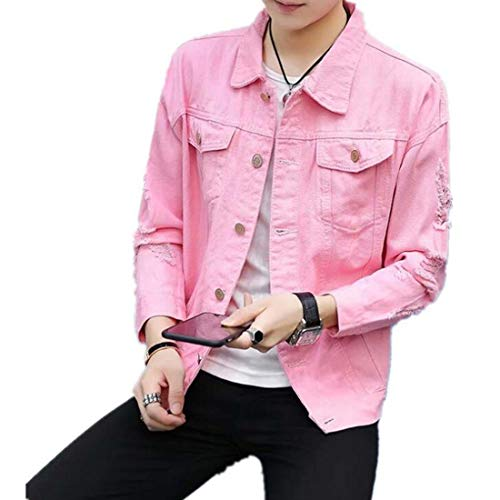 Colygamala Men's Motorcycle Vintage Ripped Denim Trucker Jean Jacket 5Color 2018022101-CPW-P-L/2XL