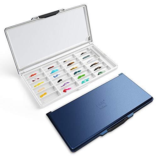Paul Rubens Aquarell Palette,24-Well luftdicht auslaufsicher Kunststoff Palette,Premium Feuchtigkeitsspendend,2 Arten von unabhängigen Paletten, geeignet für Aquarellmalerei und Kunstwerke (Blau)