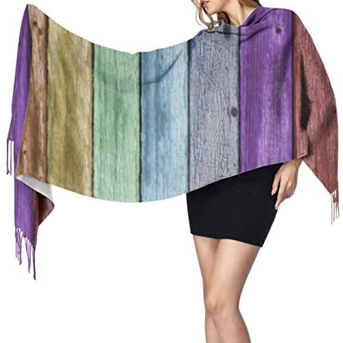 Color arcoíris Pintado Envejecido tablones de Madera Bufandas Cachemir para Mujer Bufanda...