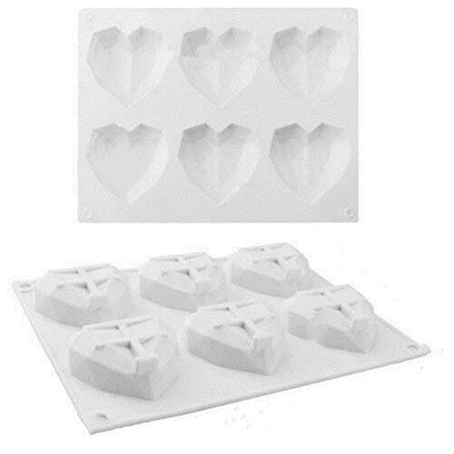 HHYSPA 6-Cavity 3D Love Heart Diamond Shaped Mold,Silicone Bakeware Molds,Ice Cubes Chocolate Jelly Candy Valentines,Cake Handmade Baking Tools (White)