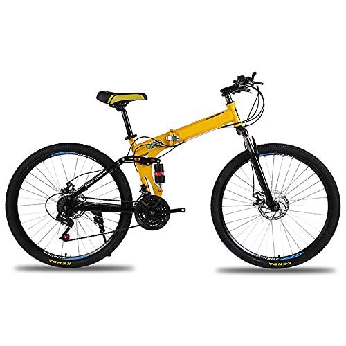 Bicicletta Pieghevole, Montagna Adulto 24 Pollici, 26 Pollici Variabile velocità Bicicletta Mountain Mountain Bike Adult Student Student Bike Leggera,D,26 Inches