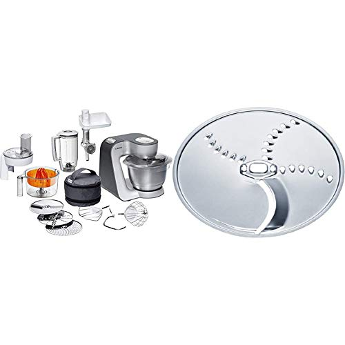 Bosch MUM5 Styline Küchenmaschine MUM56340, große Edelstahl-Schüssel (3,9l), Durchlaufschnitzler, Mixer, Zitruspresse, Fleischwolf, 900 W, silber/anthrazit & MUZ45KP1 Kartoffelpuffer-Scheibe