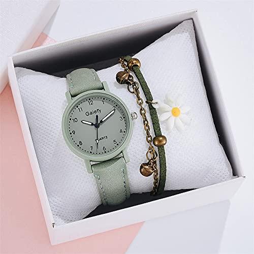 YIBOKANG 2 Unids Señoras Moda Deportes Ocio Simple Reloj Impermeable con 1 Campana Pulsera Estudiante Creativo Pulsera Reloj Conjunto