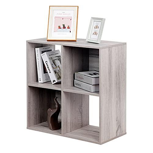 PACHIRA E-Commerce Bücherregal aus Holz, Würfel, Schrank, DVD-Regal, Aktenregal, Organizer für Wohnzimmer, Schlafzimmer, Arbeitszimmer, jeder Würfel 28,5 cm, 4 Etagen, Eichengrau