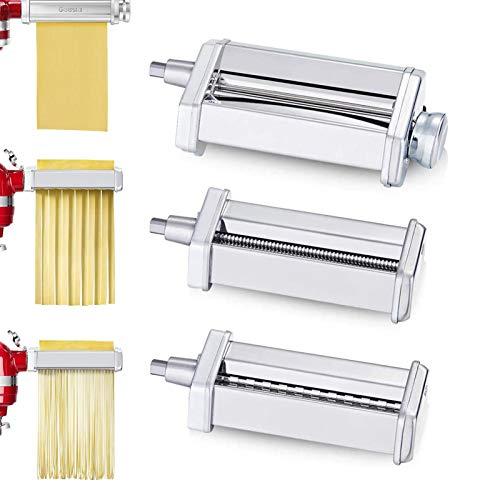 Rotella per sfoglia 3 in 1 Taglia spaghetti Tagliafettuccine per robot da cucina KitchenAid, set di accessori per macchina per pasta perfetto per ravioli, gnocchi, lasagne, tortilla (confezione da 3)