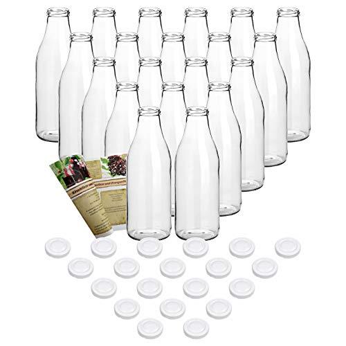 gouveo 20er Set Saftflasche 1.000 ml inkl. Verschluss to 48 Weiß, Likörflaschen, Schnapsflaschen, Essigflaschen, Ölflaschen