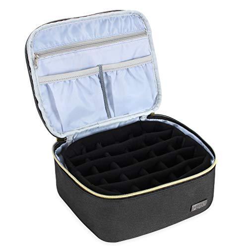 Luxja Boite Rangement Huile Essentielles, Box pour d'huile Essentielle pour Huile Parfumée et Accessoires, Apte à 30 Bouteilles (5 ML à 15 ML), Noir