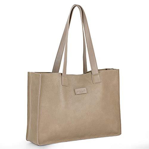 Lois - Bolso Mujer de Hombro de Piel Ecológica, Bag in Bag, con un Bolso Interior con Cierre de Cremallera,Engancha Mediante 2 Clacks para una Mejor Sujeción 308281, Color Piedra