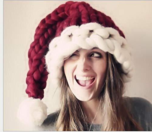 FPXNBONE Gorro de Papá Noel de peluche extra grueso de Navidad, Halloween para padres e hijos, gorro de Navidad hecho a mano, gorro de Navidad de terciopelo con ribete de felpa 0 Meses rojo vino