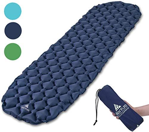 HIKENTURE Isomatte Camping kleines Packmaß Aufblasbare Luftmatratze Ultraleicht - Schlafmatte für Camping, Trekking, Backpacking (Dunkelblau)