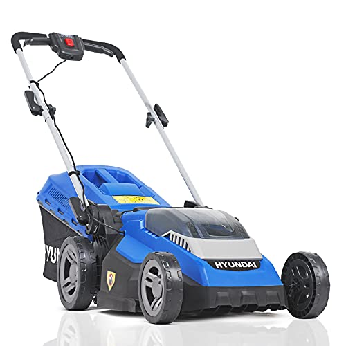 Hyundai 40v Lithium-ion Cordless Battery Powered Roller Lawn Mower, 38cm Cutting Width, 40L Grass Bag With Battery & Charger, Battery Lawnmower, 3 Year Warranty, Blue