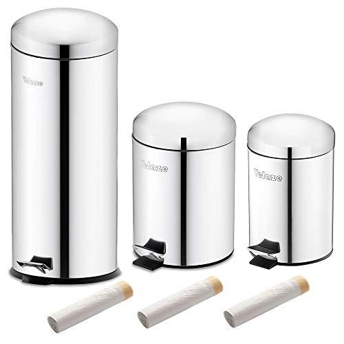 Velaze Poubelle à Pédale à Domicile en Acier INOX, 3 Poubelles de 3L/5L/30L, 60 Pcs Sac-poubelles Offerts, Bacs à Ordures de Cuisine, Poubelle Recyclage