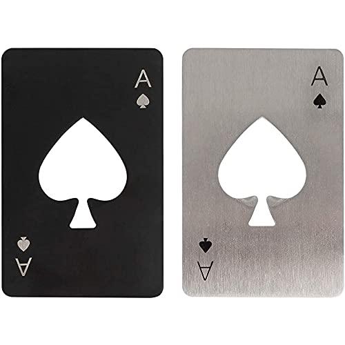 WZLEMOM 2 pezzi apribottiglie da poker, cavatappi birra, apribottiglie per birra,cavatappi divertenti, apribottiglie simpatico, apribottiglie in acciaio inossidabile, 1 nero e 1 argento