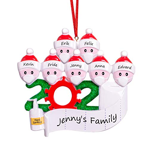 DAIZIKUAI Personalized Christmas Ornaments kit with Mask,Quarantine Survivor Family Customized Christmas Decorating Kit Creative Gift for Family Christmas Ornament-3 4 5 6 7 (Family 7)