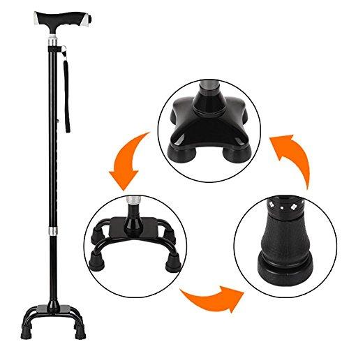 HRRH Lámpara de muleta LED Esquinas de aleación de aluminio de edad avanzada/Altura de plataforma de un pie 10 Muletas ajustables de 75-97 cm de color negro, black