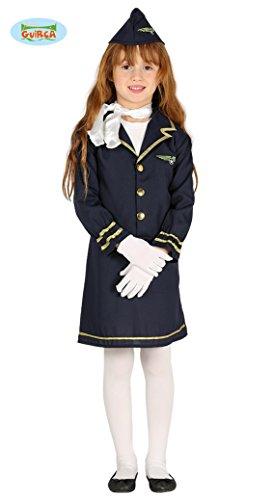 Generique - Disfraz azafata Azul Marino niña 7-9 años (125-135 cm)