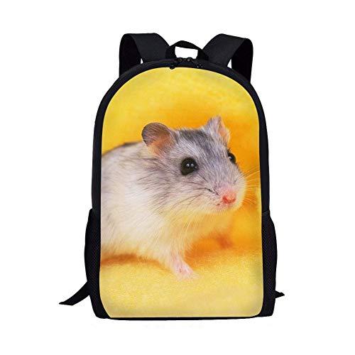 jenny-shop Sac à Dos Animal pour Filles Hamster School Bag Pack Bookbags Randonnée Voyage Enfants Sac à Dos avec Porte-Bouteille d'eau Golden