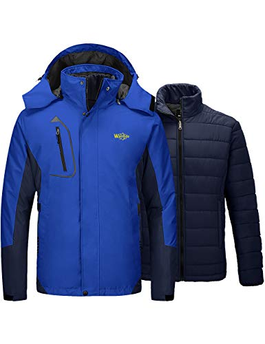 Mens Blue 3 in 1 Ski Snow Jacket with Removable Puffer Liner
