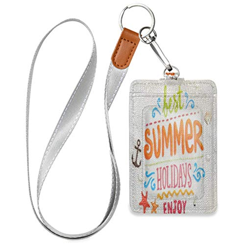 Sea Shell Anchor Starfish Beach Sand Summer Design Id Badge Holder Leather Vertical Cute Card Badge Holder for Work Office School Id Credit Metro Access Cards