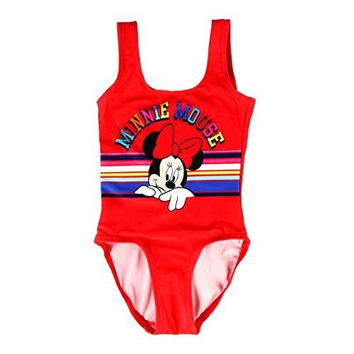 Costume da Bagno Intero Mare Bambina Minnie Mouse Disney   Rosso   2-3 - 4-5 - 6 Anni (4 Anni)