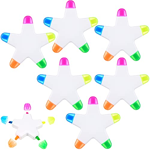 6 Piece Star Shape Highlighter Brush Tip Highlighter Colorful...