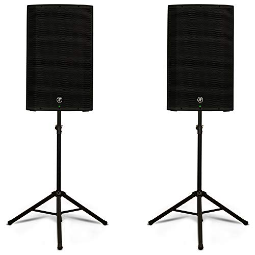 "Mackie Thump15 Powered 15"" Loudspeakers and Stands Live Music DJ Speakers Set"
