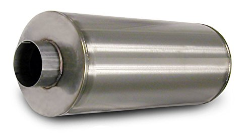 Corsa 8004000 23.25' Length x 9.62' Diameter Stainless Steel Muffler with 4' Diameter Center Inlet/Outlet for Duramax Diesel
