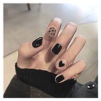 MINGTAI 24のショートステッカーマット黒と白の線の女の子3Dモデリングの偽の爪 (Color : 12)