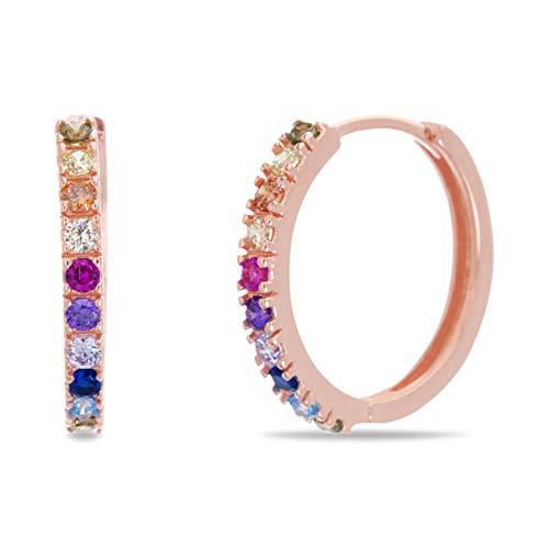 Devin Rose Rose Gold Plated Sterling Silver Rainbow Cubic Zirconia Huggie Hoop Earrings for Women ( Pink )