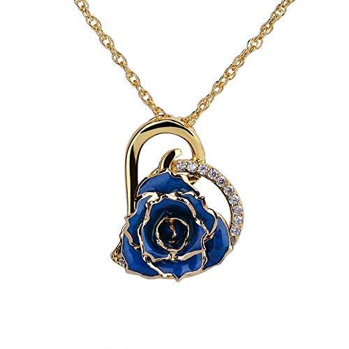 Collar con colgante en forma de corazón de estrás, chapado en oro de 24 K, con caja de regalo para mujer (azul)