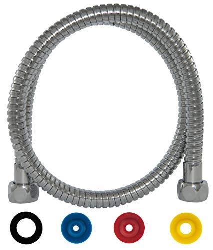 SANTRAS® Metall Duschschlauch PREMIUM Chrom 0,80 m mit Wassersparer – Besonders flexibel und verdrehsicher mit DURCHFLUSSBEGRENZER – Brauseschlauch in Edelstahloptik