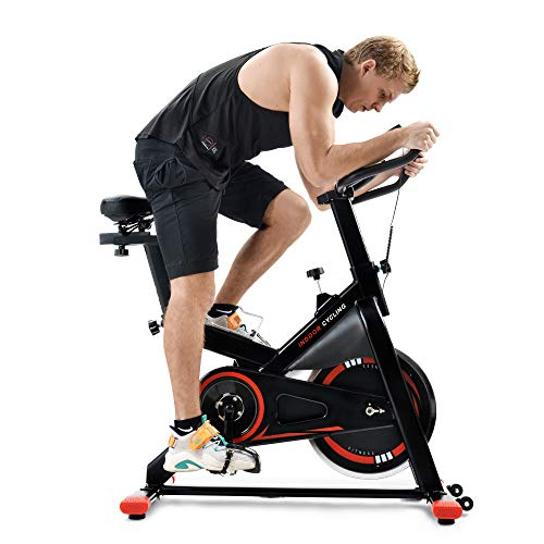 Speedbike con display LCD e supporto per smartphone, Ergometro con trasmissione a cinghia, ciclismo interno, regolazione continua della resistenza